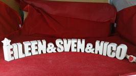 Beton, Steinguss Buchstaben 3D Deko Stern Namen EILEEN & SVEN & NICO als Geschenk verpackt!