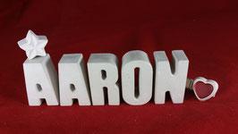 Beton, Steinguss Buchstaben 3D Deko Namen AARON als Geschenk verpackt!