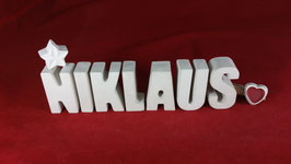 Beton, Steinguss Buchstaben 3D Deko Namen NIKLAUS als Geschenk verpackt!