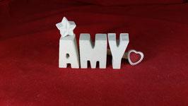 Beton, Steinguss Buchstaben 3D Deko Namen AMY als Geschenk verpackt!