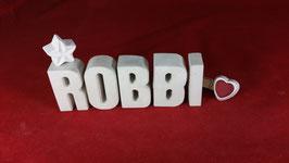 Beton, Steinguss Buchstaben 3D Deko Namen ROBBI als Geschenk verpackt!