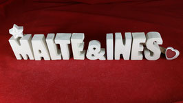 Beton, Steinguss Buchstaben 3D Deko Stern Namen MALTE & INES als Geschenk verpackt!