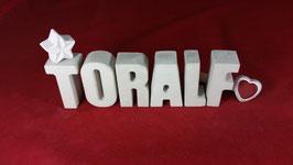 Beton, Steinguss Buchstaben 3D Deko Namen TORALF als Geschenk verpackt!