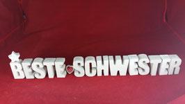 Beton, Steinguss Buchstaben 3D Deko Stern Namen BESTE SCHWESTER als Geschenk verpackt!