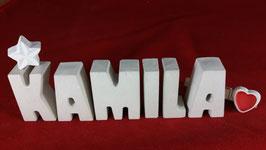 Beton, Steinguss Buchstaben 3D Deko Namen KAMILA als Geschenk verpackt mit Stern und Herzklammer!