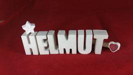 Beton, Steinguss Buchstaben 3D Deko Namen HELMUT als Geschenk verpackt!