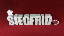 Beton, Steinguss Buchstaben 3D Deko Namen SIEGFRID als Geschenk verpackt!