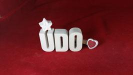 Beton, Steinguss Buchstaben 3D Deko Namen UDO als Geschenk verpackt!
