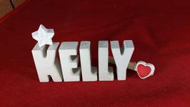 Beton, Steinguss Buchstaben 3D Deko Namen KELLY als Geschenk verpackt mit Stern und Herzklammer!