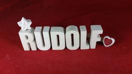 Beton, Steinguss Buchstaben 3D Deko Namen RUDOLF als Geschenk verpackt!
