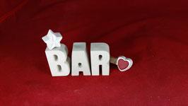 Beton, Steinguss Buchstaben 3D Deko Stern Namen BAR als Geschenk verpackt!