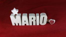 Beton, Steinguss Buchstaben 3D Deko Namen MARIO als Geschenk verpackt!