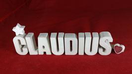 Beton, Steinguss Buchstaben 3D Deko Namen CLAUDIUS als Geschenk verpackt!