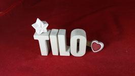 Beton, Steinguss Buchstaben 3D Deko Namen TILO als Geschenk verpackt!
