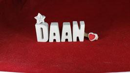 Beton, Steinguss Buchstaben 3D Deko Namen DAAN als Geschenk verpackt!