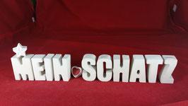 Beton, Steinguss Buchstaben 3D Deko Stern Namen MEIN SCHATZ als Geschenk verpackt!