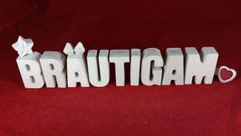 Beton, Steinguss Buchstaben 3D Deko Stern Namen BRÄUTIGAM als Geschenk verpackt!