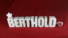 Beton, Steinguss Buchstaben 3D Deko Namen BERTHOLD als Geschenk verpackt!
