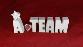 Beton, Steinguss Buchstaben 3D Deko Stern Namen A TEAM als Geschenk verpackt!