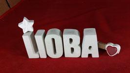 Beton, Steinguss Buchstaben 3D Deko Namen LIOBA als Geschenk verpackt mit Stern und Herzklammer!