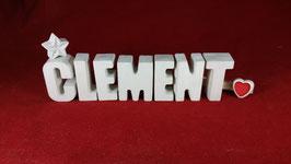 Beton, Steinguss Buchstaben 3D Deko Namen CLEMENT als Geschenk verpackt!