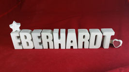 Beton, Steinguss Buchstaben 3D Deko Namen EBERHARDT als Geschenk verpackt!