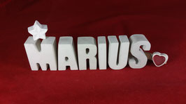 Beton, Steinguss Buchstaben 3D Deko Namen MARIUS als Geschenk verpackt!