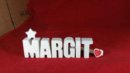 Beton, Steinguss Buchstaben 3D Deko Namen MARGIT als Geschenk verpackt mit Stern und Herzklammer!
