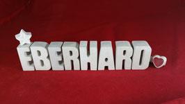 Beton, Steinguss Buchstaben 3D Deko Namen EBERHARD als Geschenk verpackt!