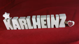 Beton, Steinguss Buchstaben 3D Deko Namen KARLHEINZ als Geschenk verpackt!