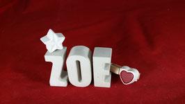 Beton, Steinguss Buchstaben 3D Deko Namen ZOE als Geschenk verpackt mit Stern und Herzklammer!