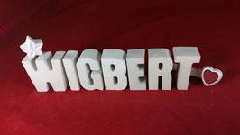 Beton, Steinguss Buchstaben 3D Deko Namen WIGBERT als Geschenk verpackt!