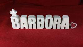 Beton, Steinguss Buchstaben 3D Deko Stern Namen BARBORA als Geschenk verpackt!