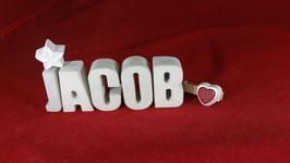 Beton, Steinguss Buchstaben 3D Deko Namen JACOB als Geschenk verpackt!