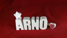 Beton, Steinguss Buchstaben 3D Deko Namen ARNO als Geschenk verpackt!