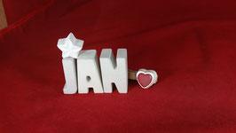 Beton, Steinguss Buchstaben 3D Deko Namen JAN als Geschenk verpackt!