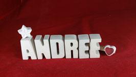 Beton, Steinguss Buchstaben 3D Deko Namen ANDREE als Geschenk verpackt!