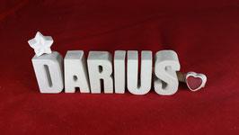 Beton, Steinguss Buchstaben 3D Deko Namen DARIUS als Geschenk verpackt!