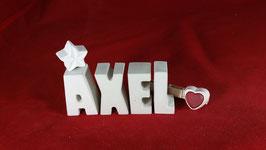 Beton, Steinguss Buchstaben 3D Deko Namen AXEL als Geschenk verpackt!
