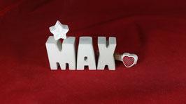 Beton, Steinguss Buchstaben 3D Deko Namen MAX als Geschenk verpackt!