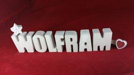 Beton, Steinguss Buchstaben 3D Deko Namen WOLFRAM als Geschenk verpackt!
