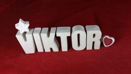 Beton, Steinguss Buchstaben 3D Deko Namen VIKTOR als Geschenk verpackt!