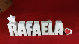 Beton, Steinguss Buchstaben 3D Deko Namen RAFAELA als Geschenk verpackt mit Stern und Herzklammer!