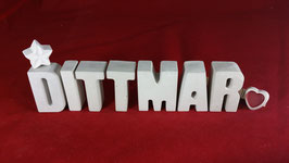 Beton, Steinguss Buchstaben 3D Deko Namen DITTMAR als Geschenk verpackt!