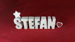 Beton, Steinguss Buchstaben 3D Deko Namen STEFAN als Geschenk verpackt!
