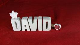Beton, Steinguss Buchstaben 3D Deko Namen DAVID als Geschenk verpackt!