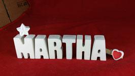Beton, Steinguss Buchstaben 3D Deko Namen MARTHA als Geschenk verpackt mit Stern und Herzklammer!