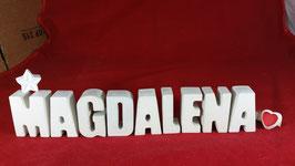 Beton, Steinguss Buchstaben 3D Deko Namen MAGDALENA als Geschenk verpackt mit Stern und Herzklammer!