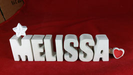 Beton, Steinguss Buchstaben 3D Deko Namen MELISSA als Geschenk verpackt mit Stern und Herzklammer!