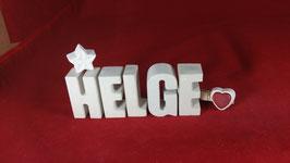 Beton, Steinguss Buchstaben 3D Deko Namen HELGE als Geschenk verpackt!